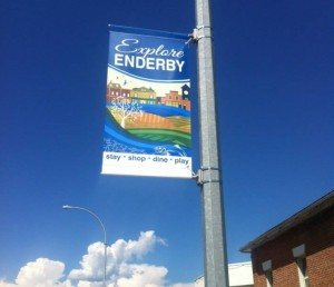 street banners along Highway 97 in Enderby BC