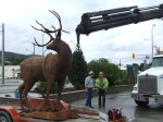 Rigging in place - time for Central Hardware to lift the Majestic Metal Art deer sculpture into its new home in Enderby BC