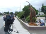 Media film artist Braden Kiefiuk installing his deer sculpture in Enderby