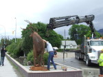 Central Hardware's crane finishes lifting artist Braden Kiefiuk's metal deer sculpture into place in Enderby