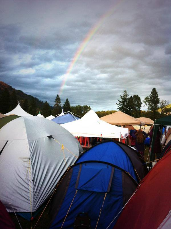 Girl Guides SOAR tents and rainbow
