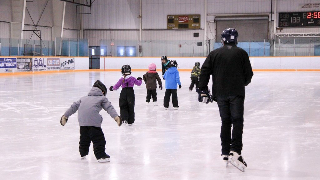 learning to ice skate at Enderby Arena