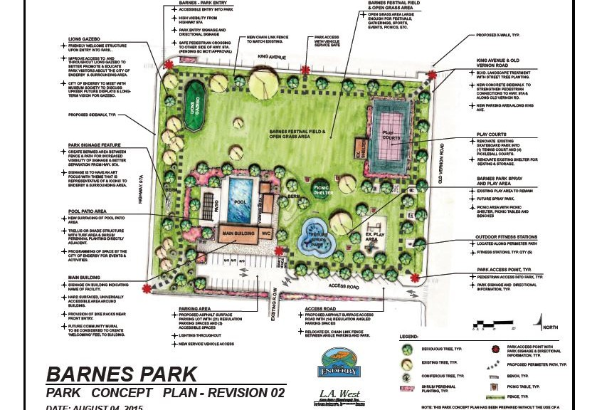 City Of Enderby Barnes Park Concept Plan Completed