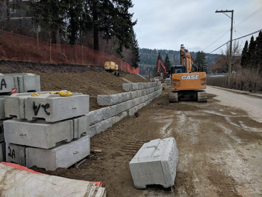 Salmon Arm Drive retaining wall construction 01