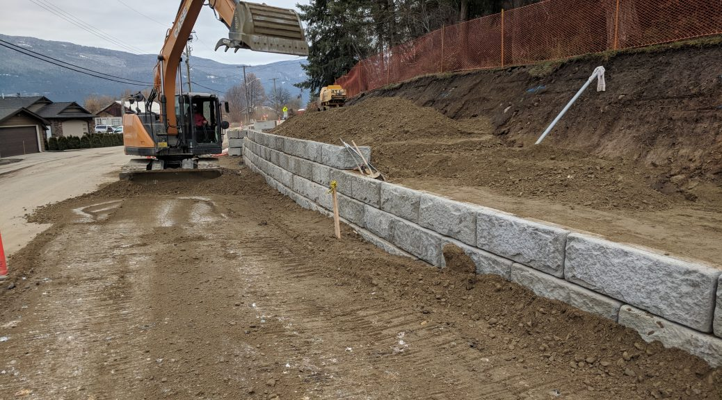 Salmon Arm Drive retaining wall construction 02