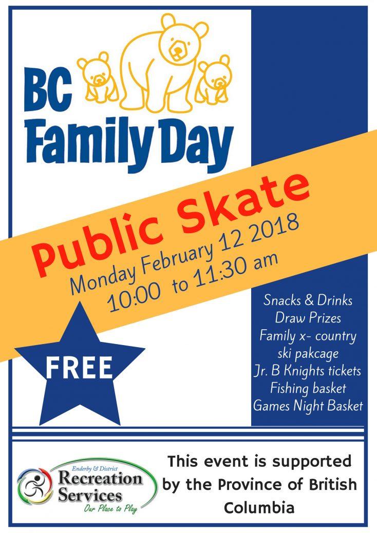 Enderby Family Day Free Skate 2018 Poster